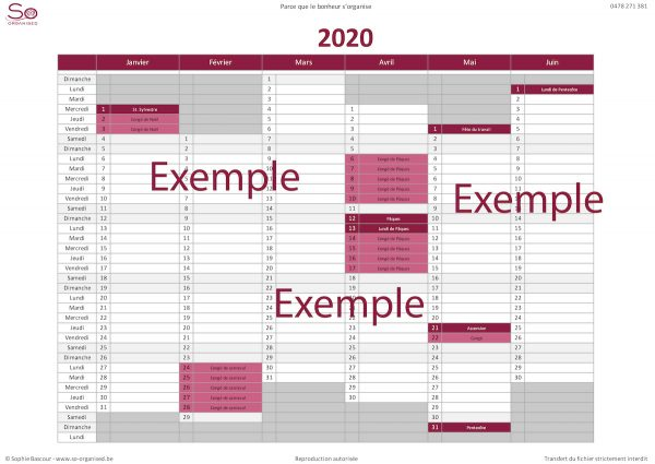 So Organised - Calendrier 2020